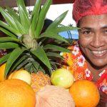 Tagilala Tabuavula of Seventh-day Adventist with a fruit basket during SDA three day food festival, under complete health improvement program at Ratu Sukuna Park on June 19, 2019. Photo: Ronald Kumar.